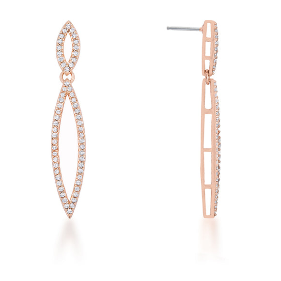 Sara 1.2ct CZ Rose Gold Delicate Double Teardrop Drop Earrings