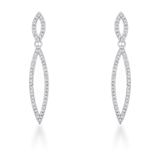 Sara 1.2ct CZ White Gold Rhodium Delicate Double Teardrop Drop Earrings