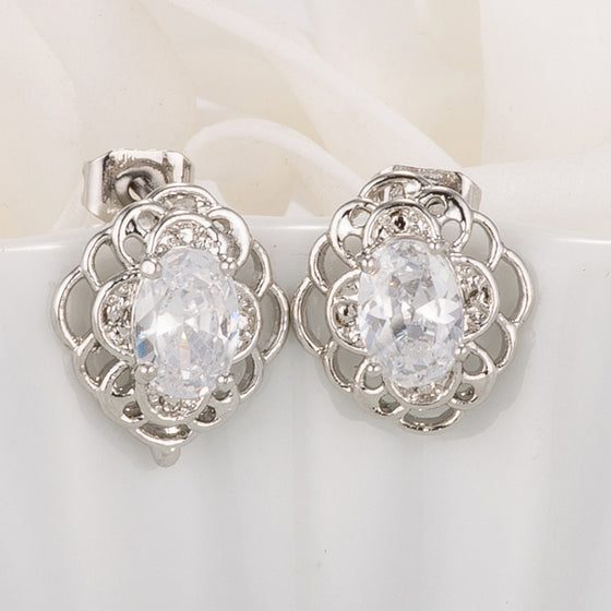 Antique Clear Oval Cut CZ Earrings