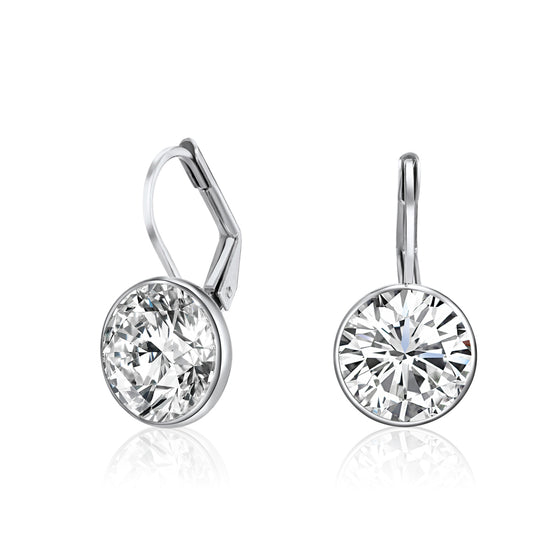 Drop Earrings White Gold Plated with Crystals From Swarovski