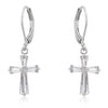 Cubic Zirconia Silvertone Finish Cross Earrings