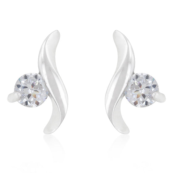 Twisting Solitaire Cubic Zirconia Earrings