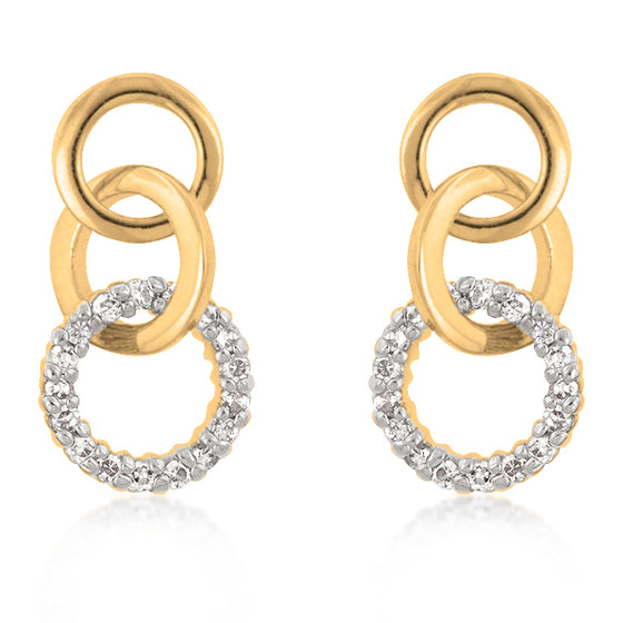 Goldtone Finish Triplet Hooplet Earrings