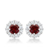 Bella Bridal Earrings in Garnet Red
