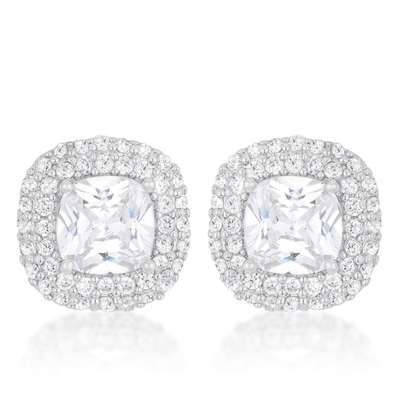 Cushion Pave Stud Earrings
