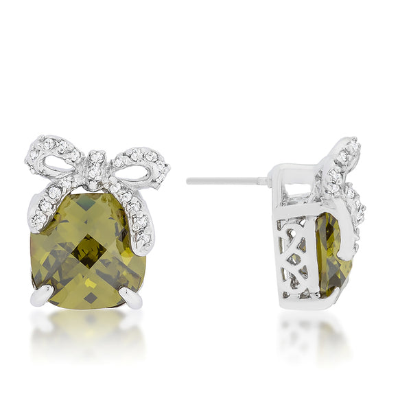 Olivine Drop Earrings with Bow