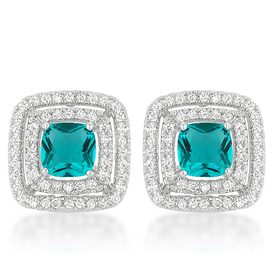 Aqua Halo Stud Earrings