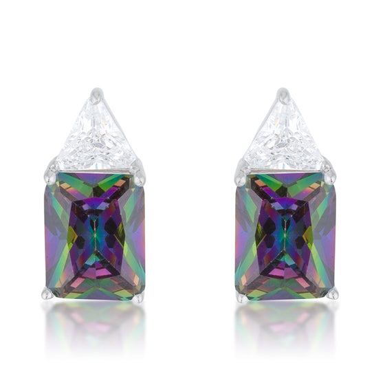Classic Mystic Cubic Zirconia Rhodium Stud Earrings