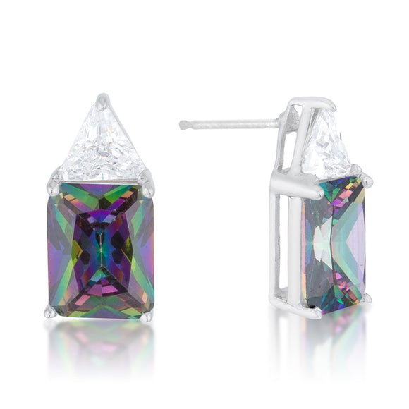 Classic Mystic Cubic Zirconia Sterling Silver Stud Earrings
