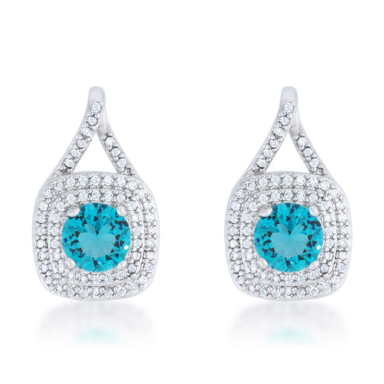 Christal 2.3ct Aqua CZ White Gold Rhodium Classic Drop Earrings