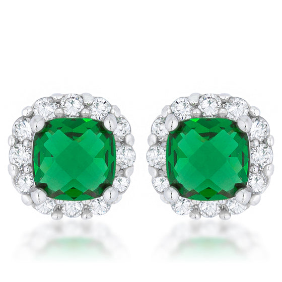 Liz 2ct Emerald CZ White Gold Rhodium Classic Cushion Stud Earrings