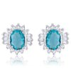 Chrisalee 3.3ct Aqua CZ White Gold Rhodium Classic Stud Earrings