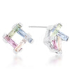 Myra 10ct Multicolor CZ Rhodium Stud Earrings