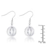 Tera 1.25ct CZ Rhodium Double Ring Drop Earrings