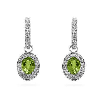 Peridot Dangles in White Gold