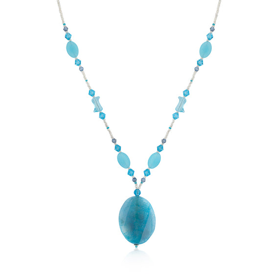 Aqua Beaded Medallion Necklace