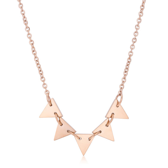 Trisa Rose Gold Stainless Steel Delicate Triangle Set Necklace