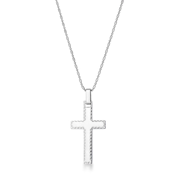 Large Stainless Steel Cross Necklace with Laser Etched Design