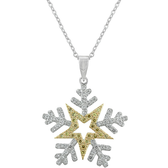Two-tone Finished Snowflake Pendant