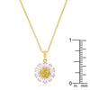 Goldtone Purple and Yellow Cubic Zirconia Floral Pendant