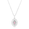 Silvertone Pink and Clear CZ Oval Halo Pendant