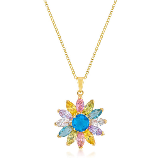 Goldtone Colorful Flower Pendant
