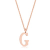 Elaina Rose Gold Stainless Steel G Initial Necklace