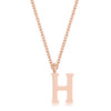 Elaina Rose Gold Stainless Steel H Initial Necklace