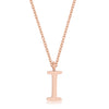 Elaina Rose Gold Stainless Steel I Initial Necklace