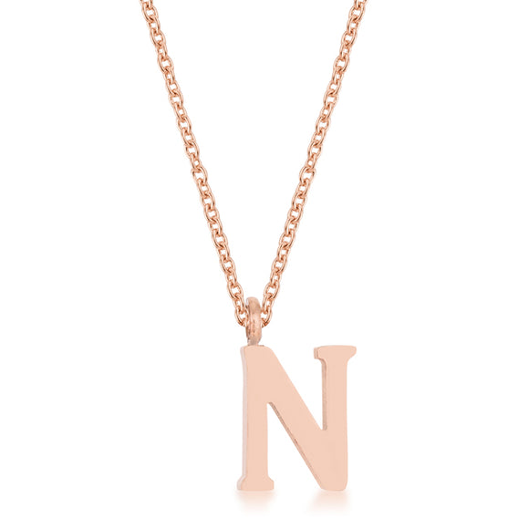Elaina Rose Gold Stainless Steel N Initial Necklace
