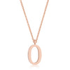 Elaina Rose Gold Stainless Steel O Initial Necklace