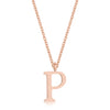 Elaina Rose Gold Stainless Steel P Initial Necklace