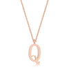 Elaina Rose Gold Stainless Steel Q Initial Necklace