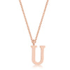 Elaina Rose Gold Stainless Steel U Initial Necklace
