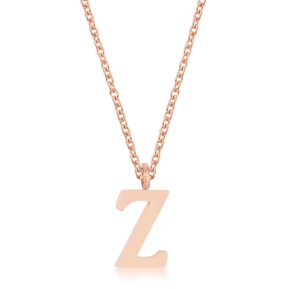 Elaina Rose Gold Stainless Steel Z Initial Necklace