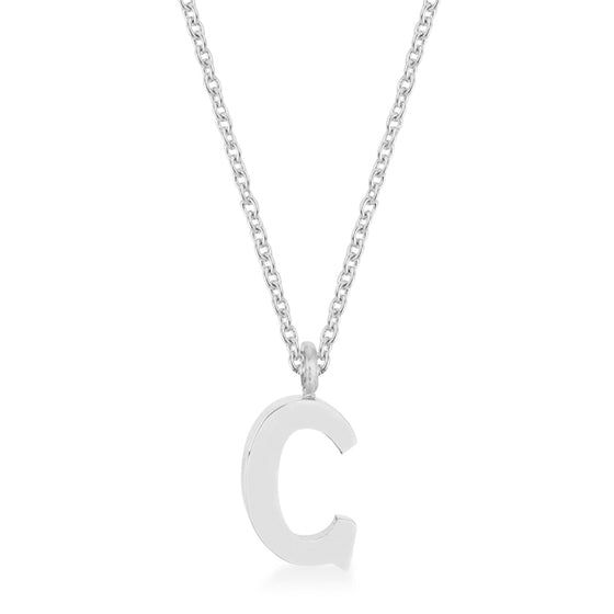 Elaina White Gold Rhodium Stainless Steel C Initial Necklace