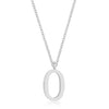 Elaina White Gold Rhodium Stainless Steel O Initial Necklace