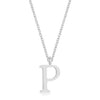 Elaina White Gold Rhodium Stainless Steel P Initial Necklace