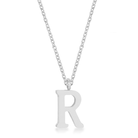 Elaina White Gold Rhodium Stainless Steel R Initial Necklace
