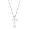 Elaina White Gold Rhodium Stainless Steel T Initial Necklace