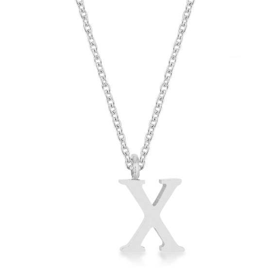 Elaina White Gold Rhodium Stainless Steel X Initial Necklace