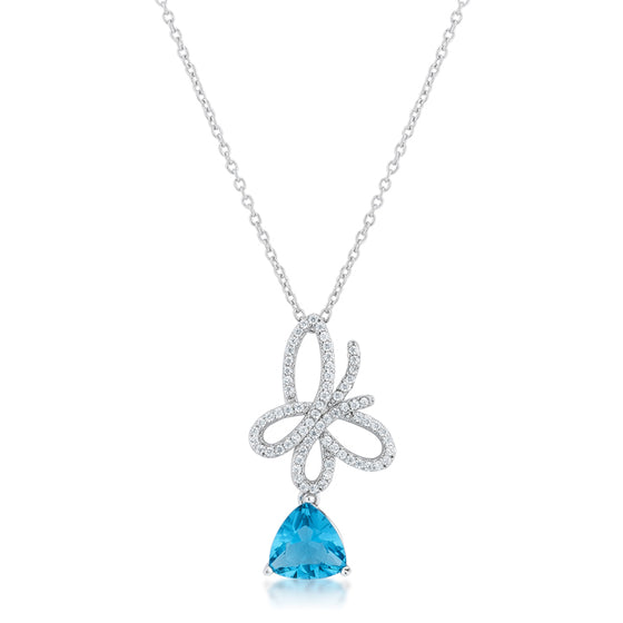 Claudia 2.3ct Aqua CZ White Gold Rhodium Butterfly Drop Necklace