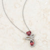Clarise 3.2ct Garnet CZ White Gold Rhodium Abstract Heart Drop Necklace