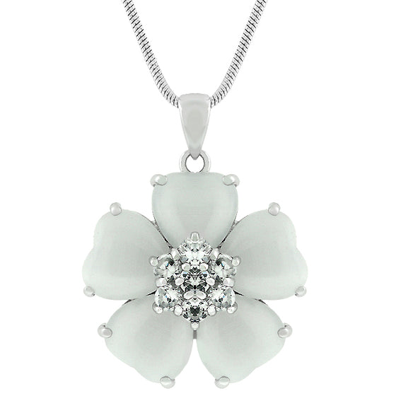 White Cats Eye Cubic Zirconia Flower Pendant