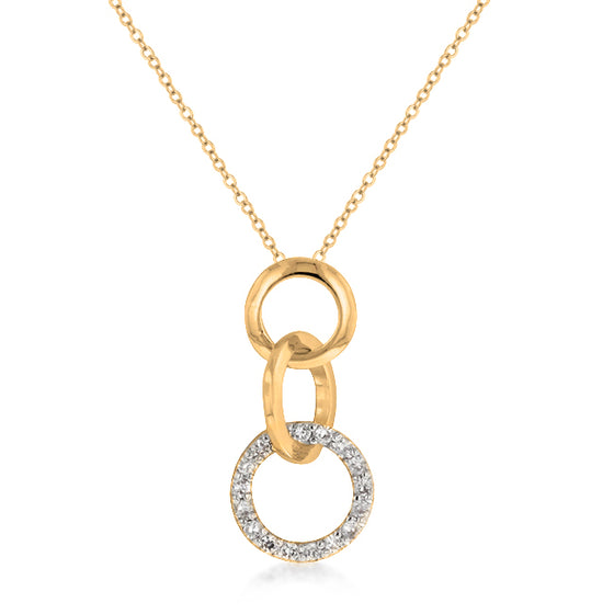 Goldtone Finish Triplet Hooplet Pendant