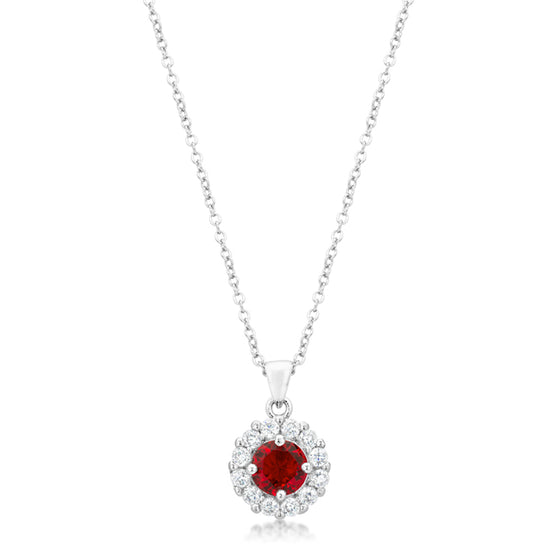 Bella Bridal Pendant in Ruby Red