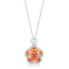 Beautiful Floral Cut Champagne CZ Pendant