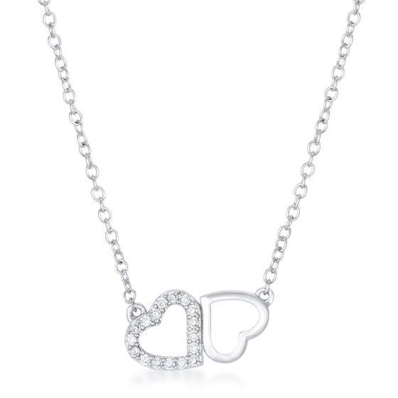 Sweet and Romantic Rhodium Melded CZ Hearts Necklace