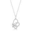 Whimsical Rhodium CZ Butterfly Pendant and Necklace