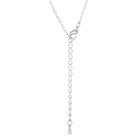 Lovely Rhodium Necklace with CZ Disk Pendant